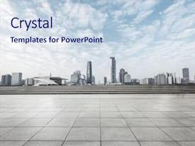 PPT theme having city - modern square with skyline background and a sky blue colored foreground