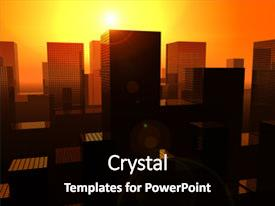 Cool new PPT theme with city sunrise - this is a cityscape backdrop and a black colored foreground.