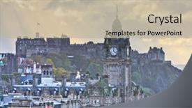 Audience pleasing PPT theme consisting of city view - edinburgh castle and balmoral clock backdrop and a mint green colored foreground.