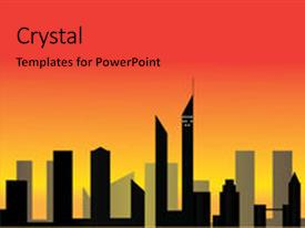 Presentation theme featuring cityscape - silhouettes of skyscrapers over sunset background - vector format background and a red colored foreground