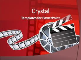 Top movie reel powerpoint templates backgrounds slides and ppt themes ppt theme with clapperboard and a film reel background and a colored foreground toneelgroepblik Gallery