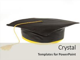 PPT layouts enhanced with education theme - black student graduation background and a light gray colored foreground.