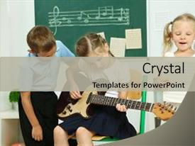 Audience pleasing theme consisting of classroom at elementary school backdrop and a light gray colored foreground.