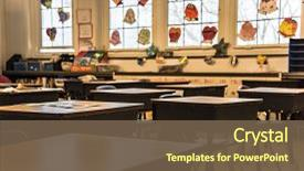 Beautiful slides featuring classroom without students school supplies backdrop and a tawny brown colored foreground.