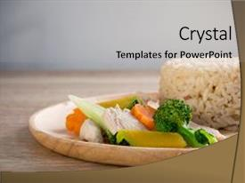 Audience pleasing slide deck consisting of clean food chicken breast backdrop and a light gray colored foreground