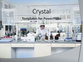 Audience pleasing presentation consisting of chemist - clean modern white medical backdrop and a light gray colored foreground.