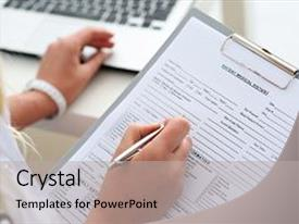PPT theme having clipboard pad and fill medical background and a light gray colored foreground.