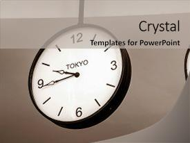 Slide deck enhanced with clock showing tokyo time zone background and a light gray colored foreground.