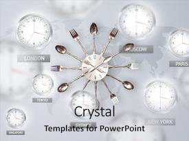 PPT layouts having clocks and time zones background and a light gray colored foreground