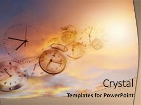 Presentation theme consisting of clocks in bright sky time background and a coral colored foreground.