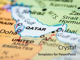 4000 qatar powerpoint templates w qatar themed backgrounds colorful presentation theme enhanced with close up of a world map with the country of toneelgroepblik Choice Image