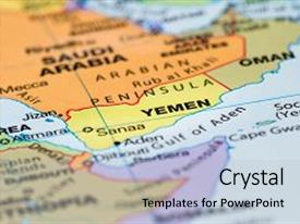 Presentation design enhanced with close up of a world map with the country of yemen in focus background and a light gray colored foreground.