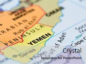 Colorful slides enhanced with close up of a world map with the country of yemen in focus backdrop and a light gray colored foreground.
