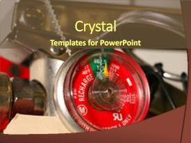 Presentation theme with close up of fire extinguisher background and a tawny brown colored foreground.