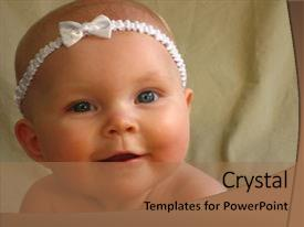 PPT layouts consisting of close up of infant girl background and a coral colored foreground.