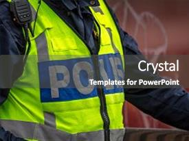 Colorful PPT theme enhanced with close up of swedish police backdrop and a dark gray colored foreground.