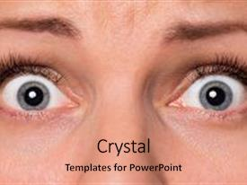 Amazing PPT theme having close-up scared face of beautiful young woman with beautiful blue eyes and big pretty eyelashes and eyebrows macro of human eyes - surprise or shock looking at camera backdrop and a coral colored foreground.