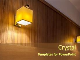 Slides having close-up two wall light sconces with a square rectangular orange with lamps with warm light on a brown wall in the bedroom background and a tawny brown colored foreground.