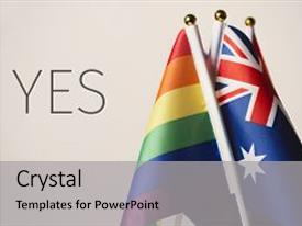 ppt layouts consisting of closeup of an australian flag and some rainbow flags and the word