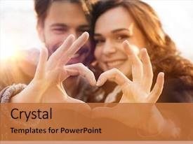 PPT theme featuring closeup of couple making heart background and a red colored foreground