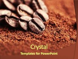 PPT layouts with closeup of group coffee beans background and a tawny brown colored foreground