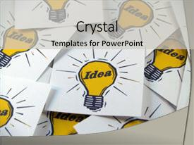 PPT theme enhanced with closeup of idea cards background and a light gray colored foreground.