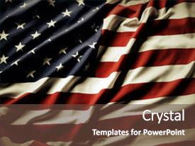 Cool new slide deck with closeup of ruffled american flag backdrop and a tawny brown colored foreground