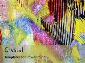 Cool new PPT theme with closeup shot of abstract hand painted colorful acrylic art background on paper texture fragment of artwork backdrop and a coral colored foreground.