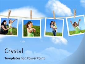PPT layouts with clothesline against a blue background and a light blue colored foreground.