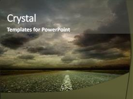 PPT theme with cloudy - most asphalt road shallow depth background and a gray colored foreground