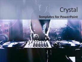 Presentation theme having club dj playing mixing music background and a light blue colored foreground.