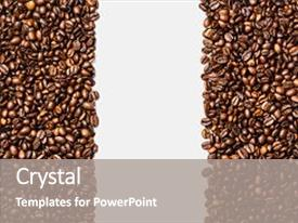 Audience pleasing theme consisting of coffee beans frame isolated backdrop and a gray colored foreground