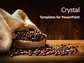 PPT theme enhanced with coffee beans in sackcloth on background and a  colored foreground.