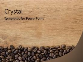 Cool new PPT layouts with coffee beans on a wooden backdrop and a coral colored foreground.