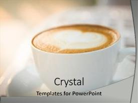 PPT theme consisting of coffee cup and latte art background and a  colored foreground.