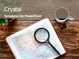 Cool new slide deck with map - coffee on wooden table time backdrop and a gray colored foreground