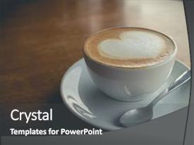 Amazing PPT layouts having coffee with foam milk art backdrop and a dark gray colored foreground.
