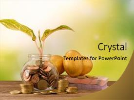Cool new PPT theme with coin on nature background investment backdrop and a  colored foreground.