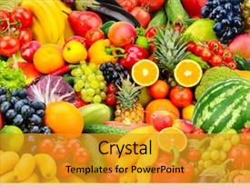 Cool new PPT theme with collage - assorted fresh ripe fruits backdrop and a gold colored foreground