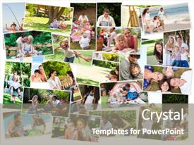 Theme having collage of cute families having fun outdoors background and a gray colored foreground.
