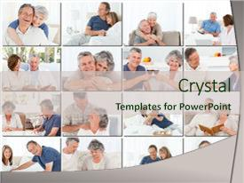 Beautiful presentation theme featuring collage of elderly couples hugging backdrop and a soft green colored foreground.