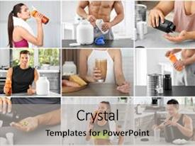 Cool new presentation theme with collage of people with protein shakes backdrop and a light gray colored foreground.