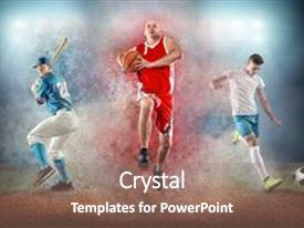 Slides with collage of team sport players in action around color splash drops undrer stadium lights baseball basketball soccer footbal professional sports people background and a coral colored foreground.