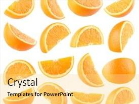 Audience pleasing presentation theme consisting of collection of 16 orange slices backdrop and a yellow colored foreground