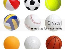 Presentation enhanced with collection-of-sport-balls-isolated background and a light gray colored foreground