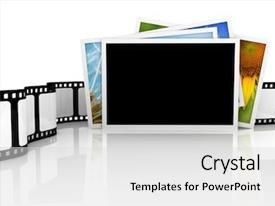 PPT layouts consisting of stack of photos with film background and a light gray colored foreground