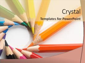 PPT layouts featuring color pencils background and a blonde colored foreground.