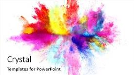 Amazing slides having colorful - explosion of colored powder backdrop and a white colored foreground