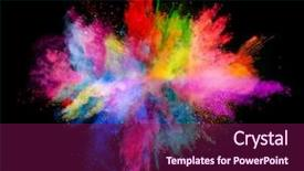 Cool new PPT theme with colorful - explosion of colored powder backdrop and a violet colored foreground