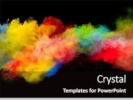Beautiful PPT theme featuring colorful - freeze motion of colored dust backdrop and a black colored foreground